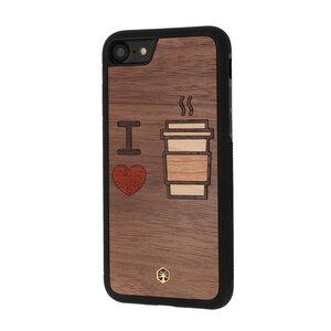 I LOVE COFFEE Holz Hülle Case für iPhone 8/7, iPhone XS/X, iPad mini 4 - WOODTASTIC