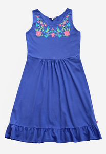 Jersey Frauen Sommerkleid Stickerei blau GOTS - Enfant Terrible