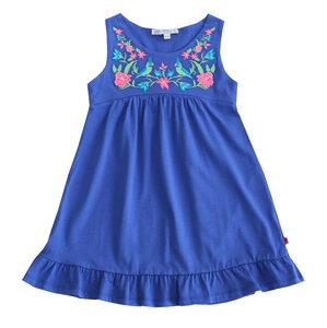 Jersey Mädchen Sommerkleid Stickerei blau GOTS - Enfant Terrible