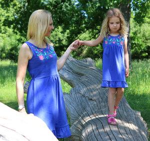 Jersey Frauen Sommerkleid Stickerei blau GOTS - Enfant Terrible