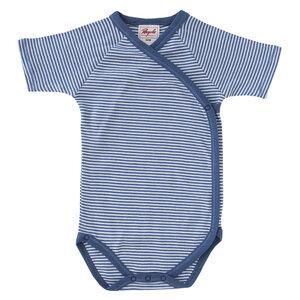 Wickelbody Kurzarm - blau geringelt - People Wear Organic