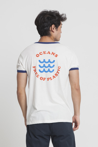 T-Shirt - OCEANS FREE OF PLASTIC RETRO - Snow White - thinking mu