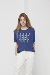 T-Shirt - FREEDOM FOR ANIMALS IVY - Blue Marino - thinking mu