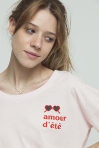 T-Shirt - AMOUR D'ETE IVY CROPPED - Pink - thinking mu