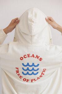 Sweatjacke - OCEANS FREE OF PLASTIC HOODIE - Pristine - thinking mu