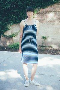 Trägerkleid - Dress Yvonne Stripes Marine Bamboo - Froy & Dind