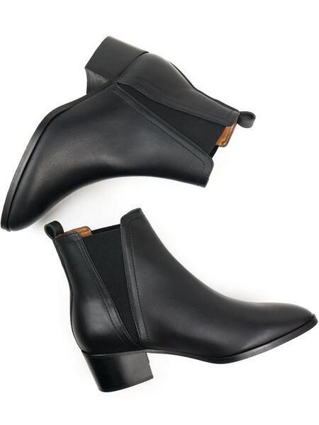 Spitz zulaufende Chelsea Stiefel Schwarz Damen