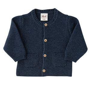 Strickjacke - blau melange - People Wear Organic
