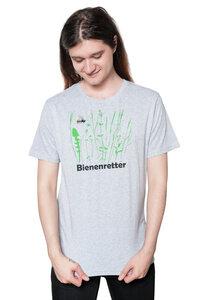 """Bio-& Fair-Trade-Männershirt """"Bienenretter"""" graumeliert - Hirschkind"""