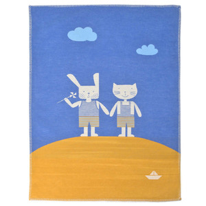 Babydecke 75 x 100, Hase & Katze - David Fussenegger