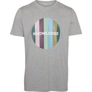 T-Shirt Striped Knowledge Print Grey Melange - KnowledgeCotton Apparel