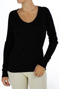 Langarm-Sweatshirt mit V-Ausschnitt - Biologischer Pima Baumwolle - B.e Quality