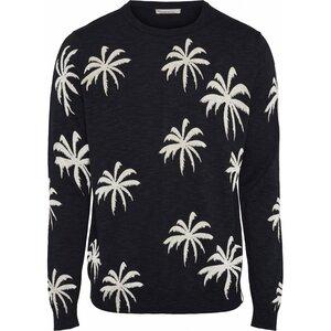 Palm Print O-Neck Light Knit - KnowledgeCotton Apparel