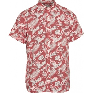 Linen Short Sleeve Hemd All Over Print Spiced Coral - KnowledgeCotton Apparel