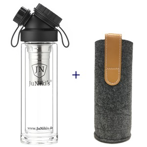 Set: JuNiki´s Glasflasche doppelwandig mit Teefilter + Filzhülle grau - JN JuNiki's