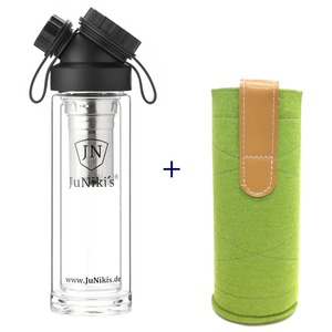 Set: JuNiki´s Glasflasche doppelwandig Teefilter + Wollfilzhülle grün - JN JuNiki's