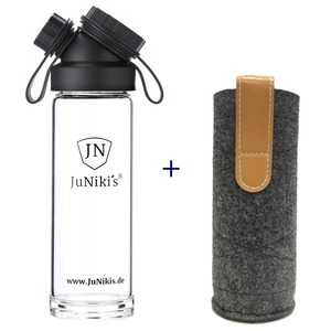 Set: JuNiki´s Glasflasche 550ml/18oz + Filzhülle grau - JN JuNiki's