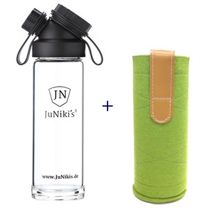 Set: JuNiki´s Glasflasche 550ml/18oz + Wollfilzhülle grün - JN JuNiki's