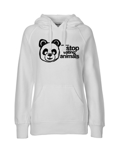 "Fair gehandelter Bio Frauen Hoodie ""Vegan Panda"" white  - ilovemixtapes"