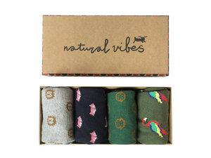 Socken geschenkboxen Bio GOTS | Bunte Socken | Herren Damen | Tiere - Natural Vibes