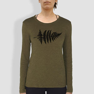 "Damen Longsleeve, ""Farn"", British Khaki - little kiwi"