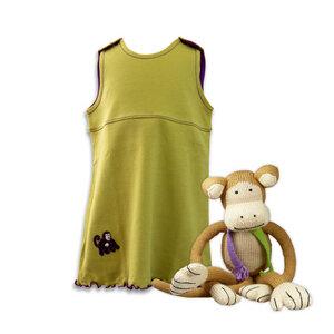 Geschenkidee zur Geburt: Affe und Babykleid in Grün/Lila - Chill n Feel