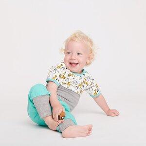 Babypumphose 'Mint/Grau' aus 95% Baumwolle und 5% Elasthan - Cheeky Apple