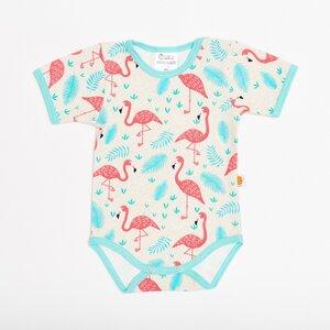 Kurzarm Body 'Flamingo' aus 95% Baumwolle und 5% Elasthan - Cheeky Apple