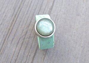 Damen Ring aus Kork vegan mit Cabachon Naturtöne - Charme-charmant