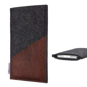 Handyhülle EVORA für Fairphone 2 Korktasche - VEGANer Filz - anthrazit - flat.design