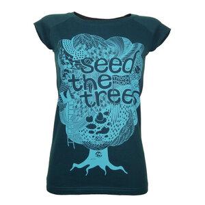 ThokkThokk Seedthetrees Cap Sleeve Women T-Shirt boyblue/deep teal - THOKKTHOKK