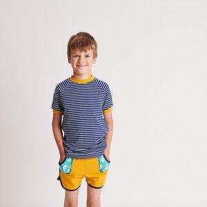 Kurzarm Ringel-T-Shirt aus 95% Bio-Baumwolle und 5% Elasthan - Cheeky Apple