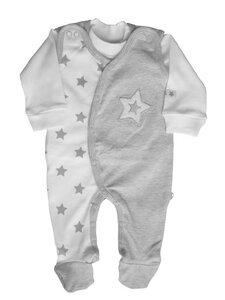 Baby Stramplerset grau weiß Bio Baumwolle - EBi & EBi