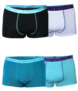 4er Mix Pack Herren Retro Pants GOTS petrol / schwarz mint / aqua / white - 108 Degrees
