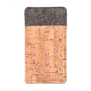 Handytasche aus Wollfilz und Kork mit pinken Sprenkeln - 11-lein