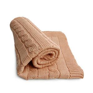 Babydecke Strickdecke Erstlingsdecke Baumwolle Zopfmuster 90x90cm - RELAXFAIR