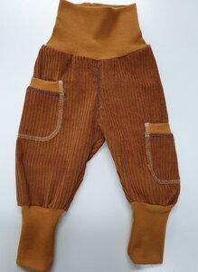 Kinder-/Baby-Mitwachshose aus mittelbraunem Breitcord mit Taschen  - Omilich