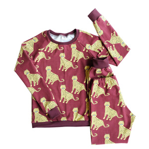 Kinder Jersey Schlafanzug Bio Baumwolle Gepard weinrot - betus