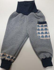 Babyhose Knit-Knit ecru-blau Elefantenparade - Omilich