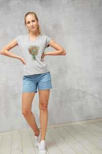 T-Shirt V-Neck #BOUQUET grau - recolution