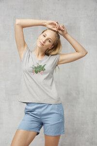 T-Shirt V-Neck #BADEWANNE grau - recolution