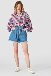 Shorts - Alice Belted Short - Light Marble Blue - Kings Of Indigo