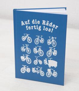 Auf die Räder fertig los! - Notizbuch A5 Hardcover 96 Seiten - Blau - päfjes