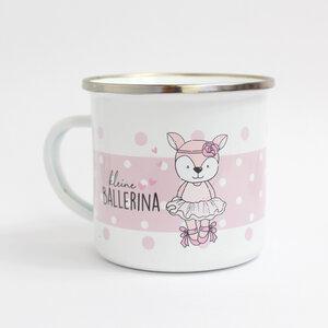 Emailletasse / Becher 'kleine Ballerina' - Sternchenwolke