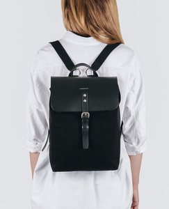 Rucksack - Alva - Black with black Leather - Sandqvist