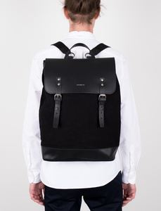Rucksack - Hege - Black with black Leather - Sandqvist
