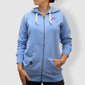 "Damen Hoodie, ""Libelle"", Blau  Mid Heather Blue - little kiwi"