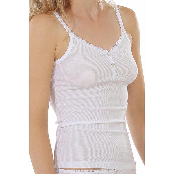 DAMEN UNTERHEMD Damenunterhemd Unterwäsche Spaghettiträger weiß