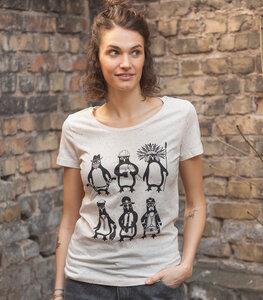 YMCA Pinguine - Fair Wear Frauen T-Shirt - Ecru Dots - päfjes