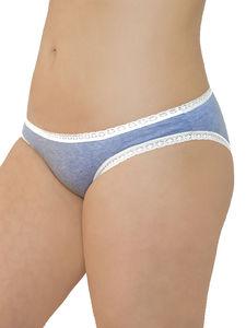 3 er Pack Damen Slip mit Spitze Bio-Baumwolle Bikinislip 3 Farben - Albero